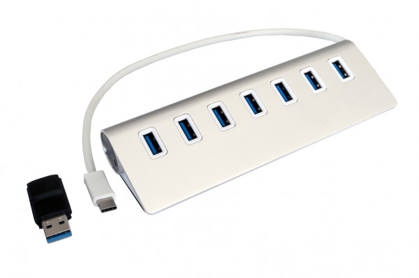 USB 3.0 HUB mit 7 Ports, A-to-C adapter