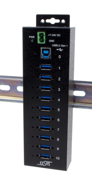 10 Port USB 3.2 Gen1 Managed HUB, inkl. Din-Rail