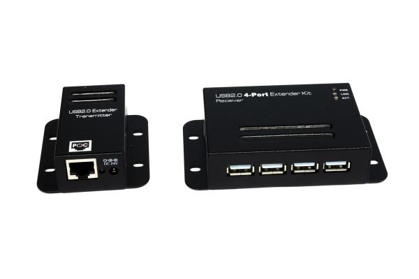 4 Port USB 2.0 Cat.5/6. Extender bis 50 M., Metall