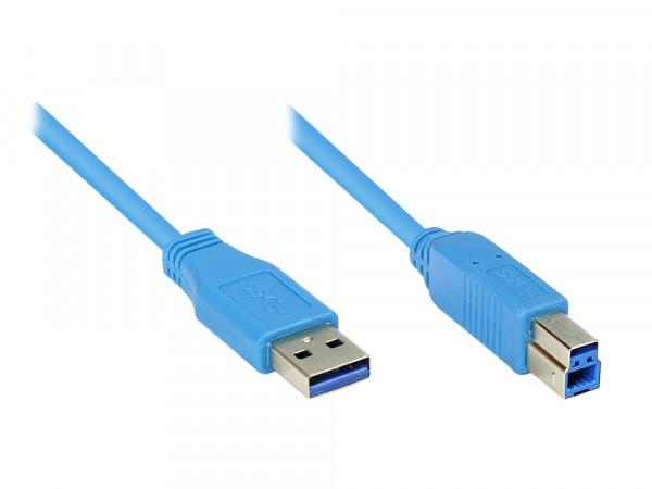USB 3.2 Gen1 Stecker A an Stecker B, 3.0m, blau