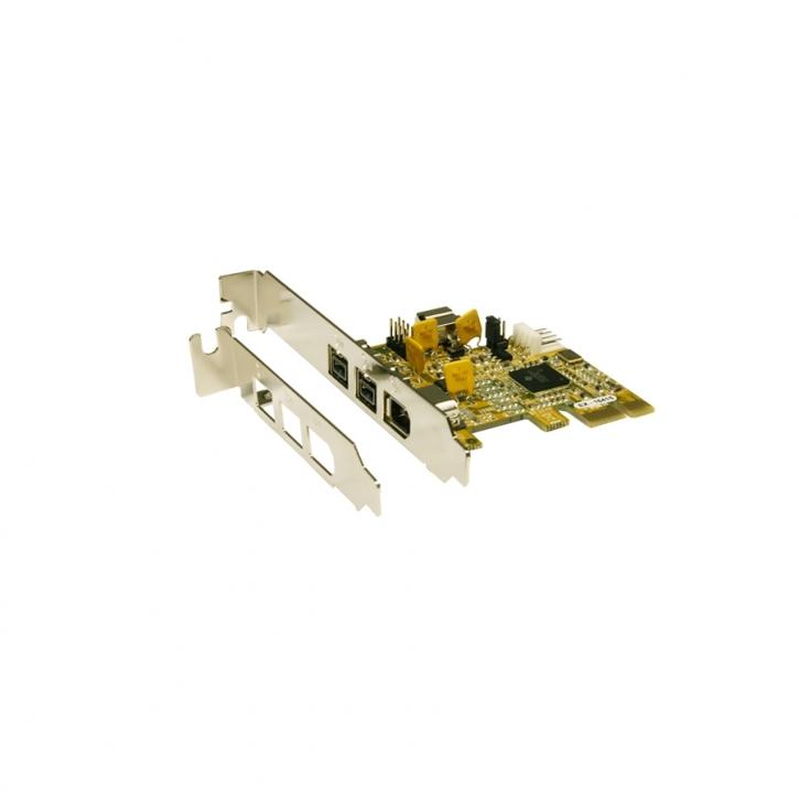 PCIe FireWire 1394B Karte mit 3 Ports (TI Chip-Set) inkl. LowProfile Bracket