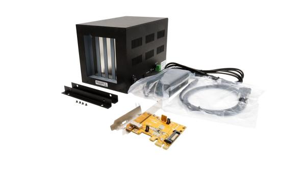 Expansion Box mit PCIe Karte und C-Kabel zu 4 x PCI Slots