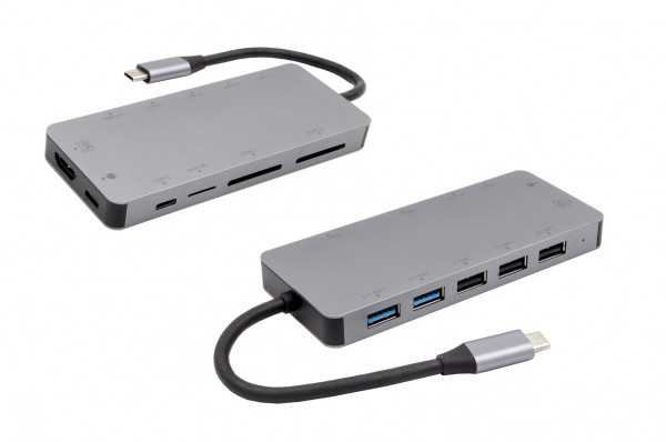 11 in 1 Ports USB 3.2 Gen1 Metall C-HUB für Notebook, Matebook und MacBook
