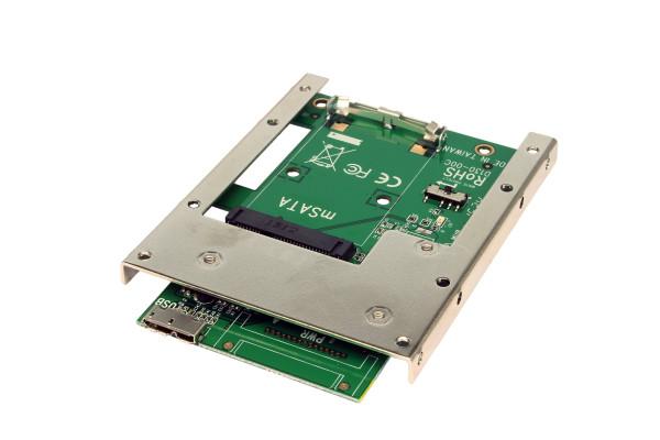 """USB 3.0 zu mSATA mit 2.5"""" Einbaurahmen (7mm)"""