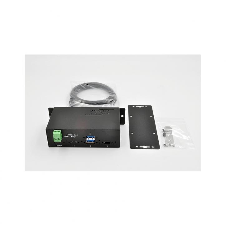 USB 3.1 (Gen2) Metall HUB mit 4 Ports 2 x USB-C und 2 x USB-A Anschluss