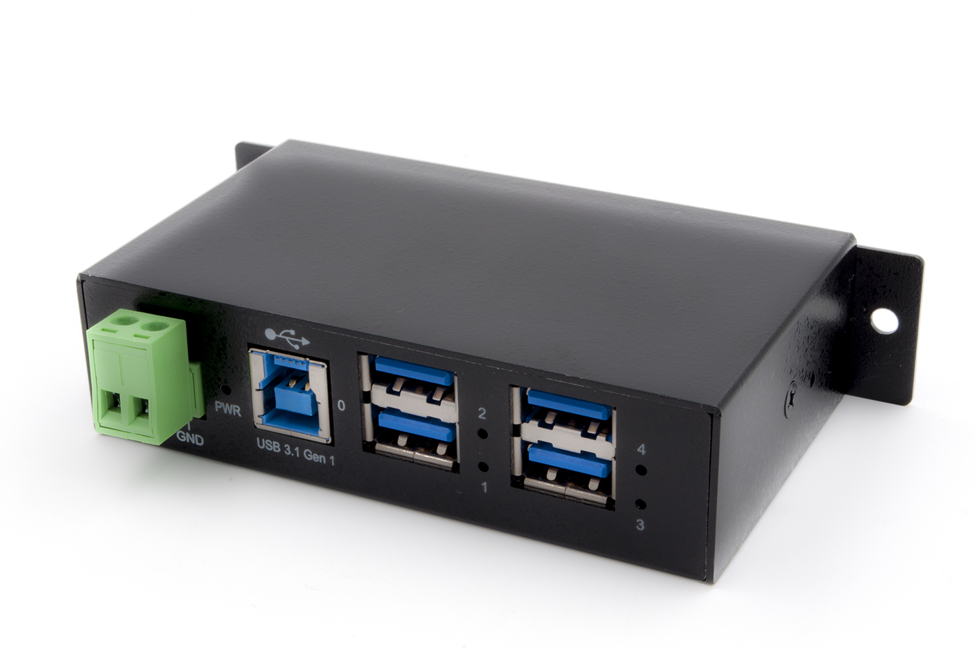 Managed 4-Port USB 3.2 Gen1 Metall HUB mit 15KV EDS Überspannungs-Schutz (Din-Rail)