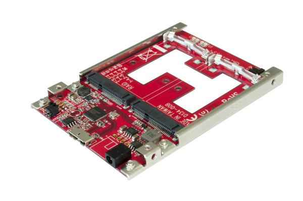 """USB 3.1(Gen2) zu mSATA RAID 0/1 mit 2.5"""" Rahmen"""