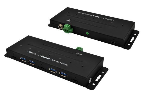 USB 3.2 Gen2 Metall HUB mit 7 Ports, 3 x USB-C und 4 x USB-A Anschluss