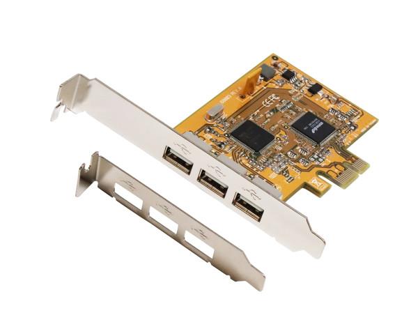 USB 2.0 PCIe Karte mit 3 Ports inkl. LP Bügel