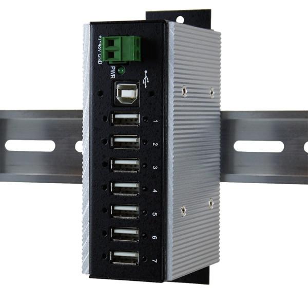 7 Port USB 2.0 Metall HUB (Din-Rail) für Temperaturen von –40°C bis +85°C