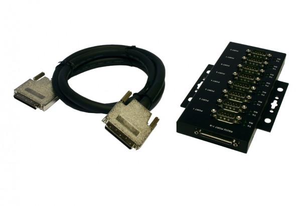 Metallbox mit 8 x 9 Pin Seriell Stecker, 2 Meter