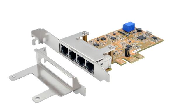 PCIe Quad Netzwerk-Karte mit 4 x 1Gigabit (USB)