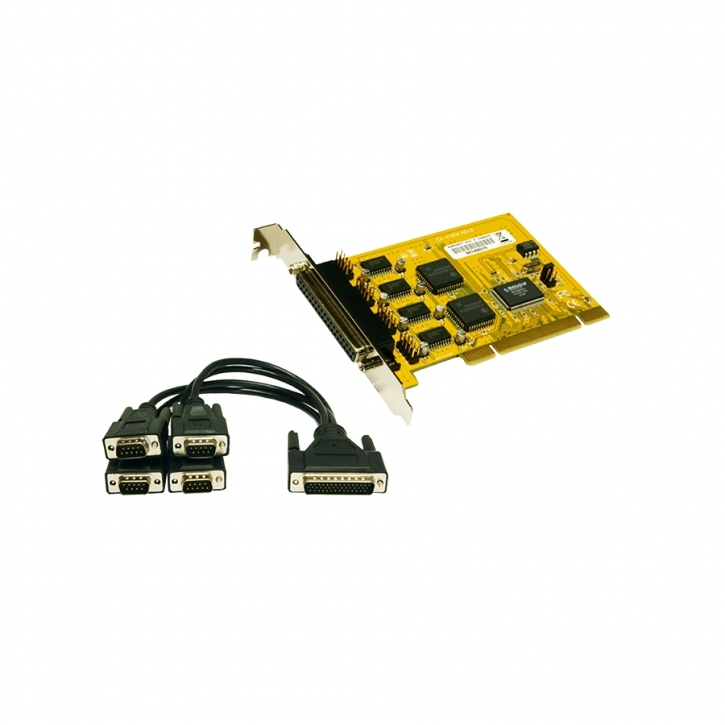 PCI 4S Seriell RS-232 Karte mit Octopus-Kabel (MosChip Chip-Set)