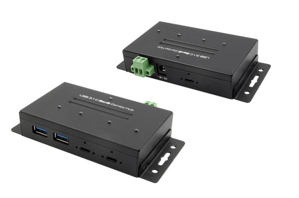 USB 3.2 Gen2 Metall HUB mit 4 Ports 2 x USB-C und 2 x USB-A Anschluss