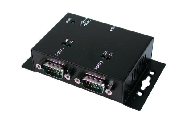 USB 2.0 zu 2S RS-232, Metallgehäuse,Verschraubbar