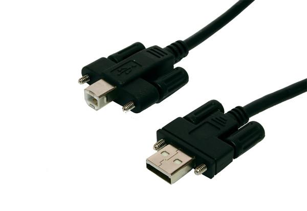 USB 2.0 Kabel A Stecker und B Stecker mit Rändelschrauben, 2 Meter