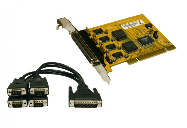 PCI 4S Seriell RS-232 Karte, MosChip Chip-Set